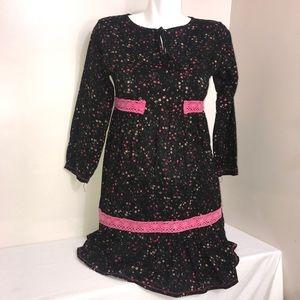 Black Contrast Pink Floral Bell Sleeve RuffleDress